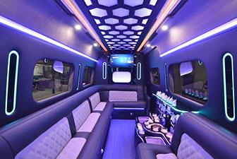 White Mercedes Sprinter Bus Interior Photo 3
