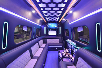 White Mercedes Sprinter Bus Interior Photo 3