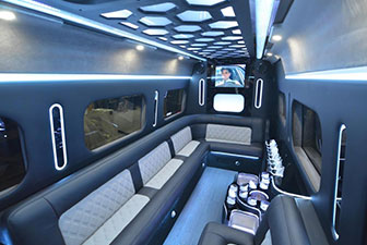 White Mercedes Sprinter Bus Interior Photo 5