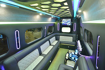 White Mercedes Sprinter Bus Interior Photo 6