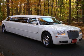White Chrysler 300 Stretch Limousine 6-8 Exterior Photo 1