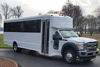 White Ford Luxury Limo Bus