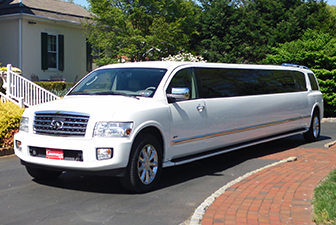 White Infiniti QX56 Super Stretch Limousine
