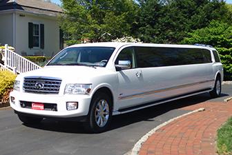 White Infiniti QX56 Super Stretch Limousine