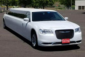 White Chrysler 300 Stretch Limousine 12-14 Exterior Photo 1